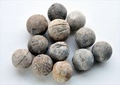 Detailed view of an old musket balls into