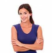 picture of charming  - Charming female smiling and looking happy in white background - JPG
