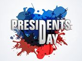 Presidents Day celebration poster, banner or flyer with United State American flag color splash.