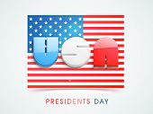 3D glossy text United State America on national flag for Presidents Day celebrations.