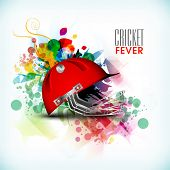 Cricket Fever concept with batsman helmet on colorful abstract background.