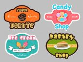 Set of four colorful label for donuts, candy, ice cream and pastry shop.