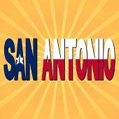 San Antonio flag text with sunburst illustration