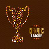 Stylish winning trophy for Cricket Champions League on brown background.