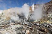 Fumarole, Sulfur Field In Crater Active Volcano Of Kamchatka