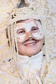 White Masked Lady During The Carnival Of Venice