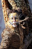 Woman Disguised As A Leopard During The Carnival Of Venice