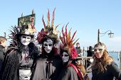 Group Of Masked People At Carnival Of Venice