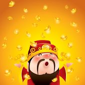 Chinese God of Wealth. Gold Falling. Translation of text: Wealth