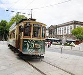 Heritage Tram In The Center Of Porto, Portugal