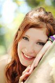 Smiling Outdoor Portrait Red Head Teen Girl