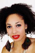 Close Portrait Of Light Skinned Black Woman