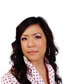 Portrait Young Attractive Asian Woman Polka Dot Shirt