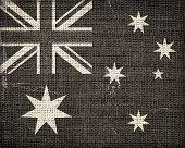 Grunge Australian National Flag Burlap Linen Rustic