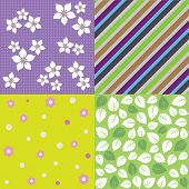 Four seamless spring background pattern designs. This image is a vector illustration.