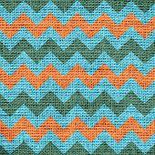 picture of zigzag  - Closeup burlap jute canvas vintage chevron zigzag textured background - JPG