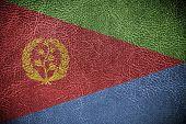 Eritrea Flag painted on leather texture