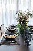 Table Set In Luxury Dinning Room