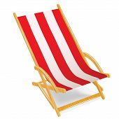 Wooden beach chaise longue isolated on white