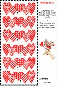 Valentine's Day visual riddle with rows of decorative hearts