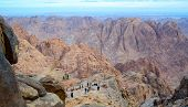 Tourists Descend From The Top Of Mount Moses, Mount Sinai, Egypt