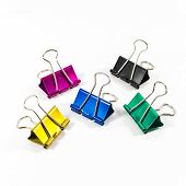 Group Of Color Binder Clips Isolated