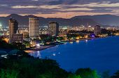 Hua Hin City In Twilight, Thailand