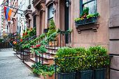 stock photo of brownstone  - Brownstones decorated for Christmas on the East Side of Manhattan - JPG