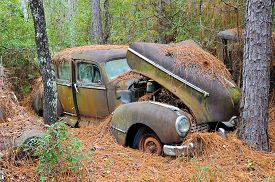 foto of scrap-iron  - An old rusted out scrap car that has been abandoned in the woods - JPG