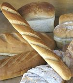 Display Of Bread In Shop Window Of Bakery