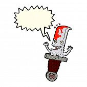stock photo of bloody  - bloody knife cartoon character with speech bubble - JPG