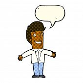 foto of open arms  - cartoon grinning man with open arms with speech bubble - JPG