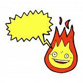 foto of fireball  - cartoon friendly fireball with speech bubble - JPG
