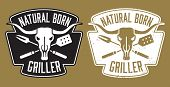 foto of skull cross bones  - Barbecue design with the words Natural Born Griller and cow skull with crossed barbecue fork and spatula.