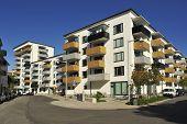 image of building exterior  - Modern apartment buildings in new neighborhood  - JPG