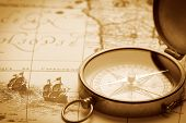 image of decoupage  - Old compass on vintage map - JPG