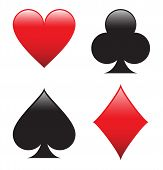 picture of spade  - A glossy set of poker shapes heart - JPG