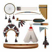picture of wigwams  - Ethnic american indigenous tribal culture decorative set isolated vector illustration - JPG