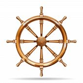 pic of ship steering wheel  - Antique wooden ship wheel on the white background isolated vector illustration - JPG