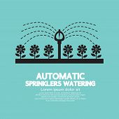 foto of sprinkler  - Automatic Sprinklers Watering Black Symbol Vector Illustration - JPG