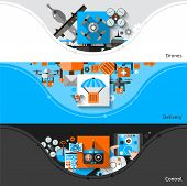 image of drone  - Drone horizontal banners set with delivery and control elements isolated vector illustration - JPG