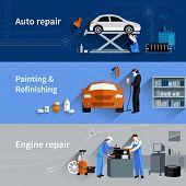 stock photo of cap gun  - Mechanic horizontal banners set with auto engine repair elements isolated vector illustration - JPG