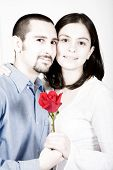 Casual Couple In Love - Red Flower poster