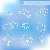 foto of windy weather  - Hand drawn weather vector icons on blurred background - JPG