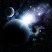 stock photo of fiction  - Space background with nebula and fictional planets - JPG