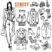 foto of trench coat  - Fashion illustration in sketch style  - JPG