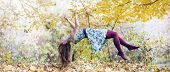 stock photo of levitation  - Levitation portrait of young woman in the forest - JPG