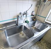 pic of sink  - sink stainless steel industrial kitchen with open tap - JPG