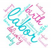 foto of birth  - Labor and birth word cloud on a white background - JPG