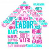 pic of birth  - Home birth labor word cloud shaped as a house on a white background - JPG